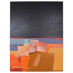 "Dan Namingha ""Pueblo"" Acrylic Painting"