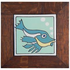 """Spiny Fish,"" Rare Art Deco Tile with Quartersawn Oak Frame"