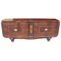 French Art Deco Sideboard Palisander Rio with M-O-P Detail, style Jules Leleu.