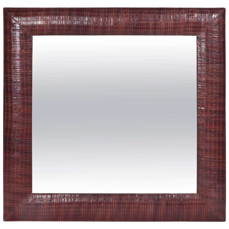 Hand-Woven Leather Framed Beveled Mirror For Sale