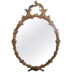 Beautiful Mid-Century Italian Oval Giltwood Carved Mirror, Italy 1960s