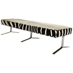 Modern Chrome Bench Restored in Ivory Cowhide and Zebra Hide