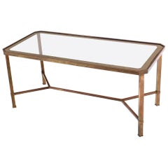 Rectangular Brass Base Y Stretcher Coffee Table
