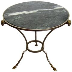 Vintage Gueridon End or Side Table with Marble Top in the Style of Maison Jansen