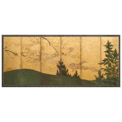 Japanese Screen: Sun and Moon Landscapes