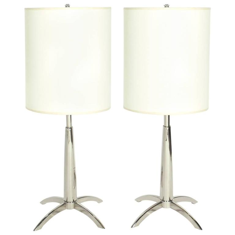 Pair of Sleek Nickel Plated Lamps by Stiffel