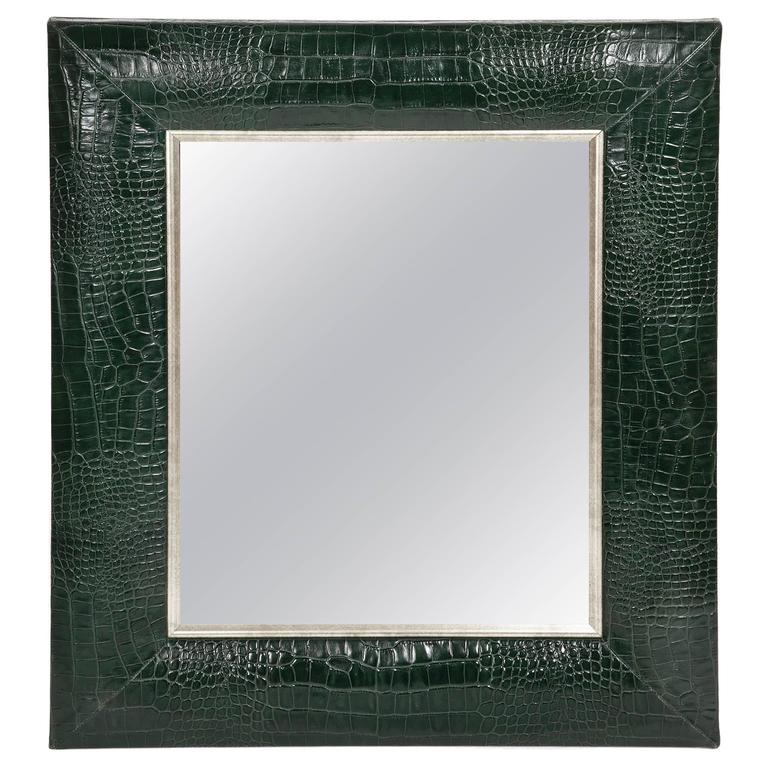 Contemporary Classic Hunter Green Croc Leather Framed Mirror with Silver Details