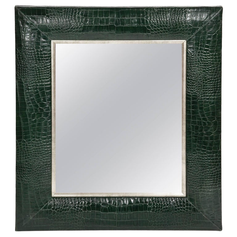 Classic Hunter Green Croc Leather Framed Mirror with Silver Details For Sale