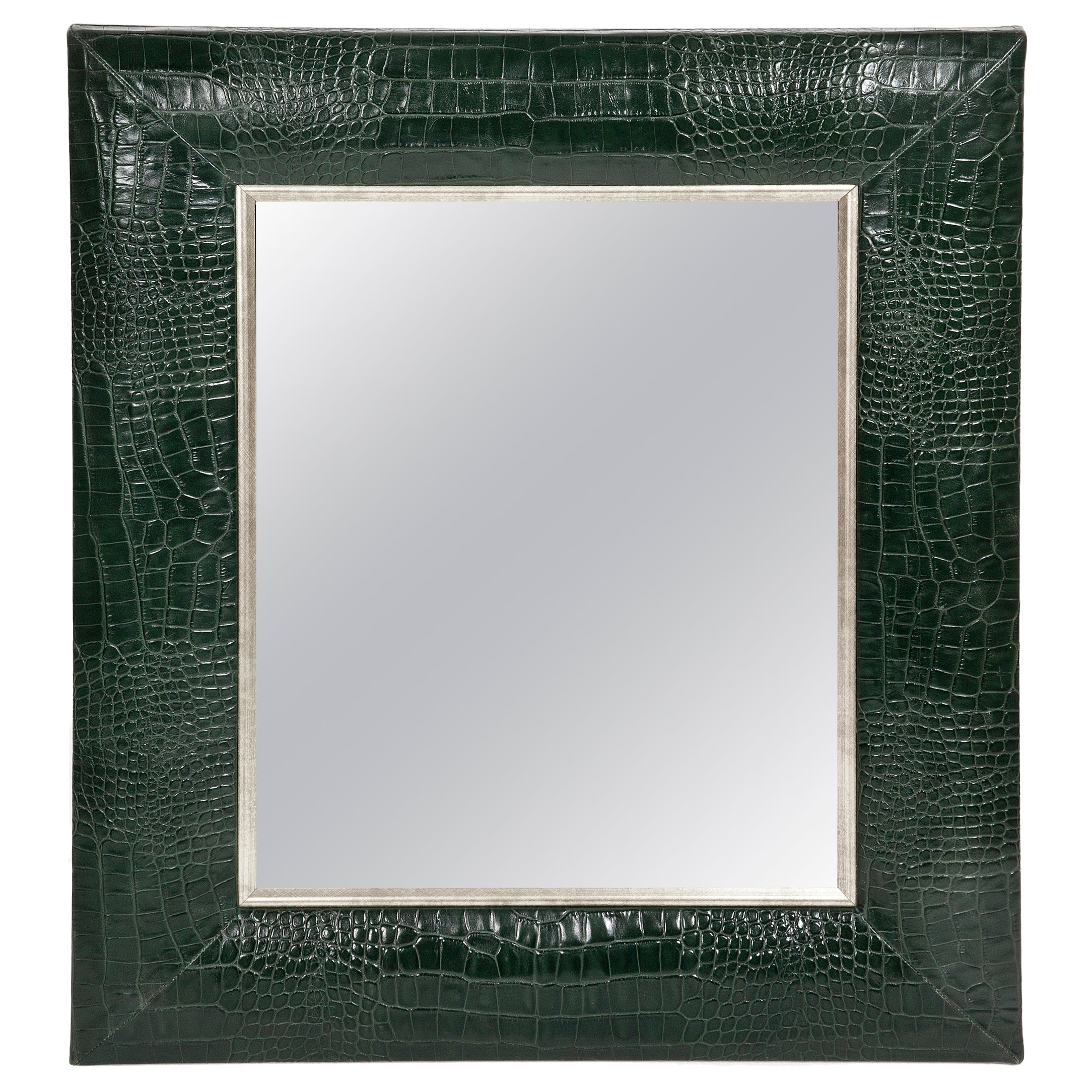 Classic Hunter Green Croc Leather Framed Mirror with Silver Details