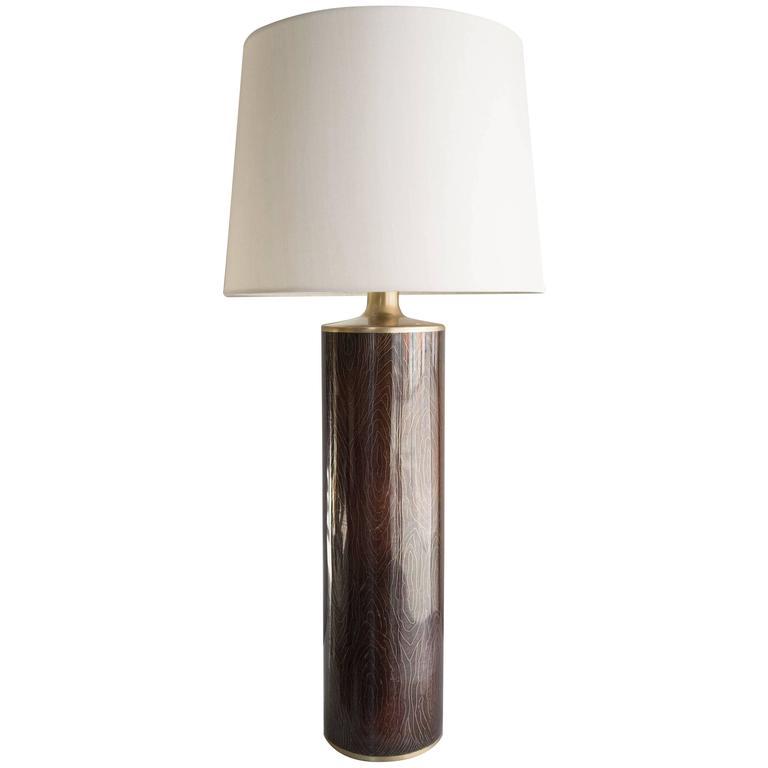 Buche Amber Woodgrain Design Cloisonné Table Lamp