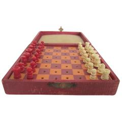 Mini Red Travel Chess Game Set, Circa 1920s