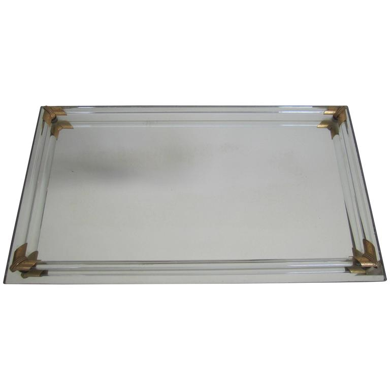 Vintage Modern Glass And Brass Vanity Tray For Sale At 1stdibs