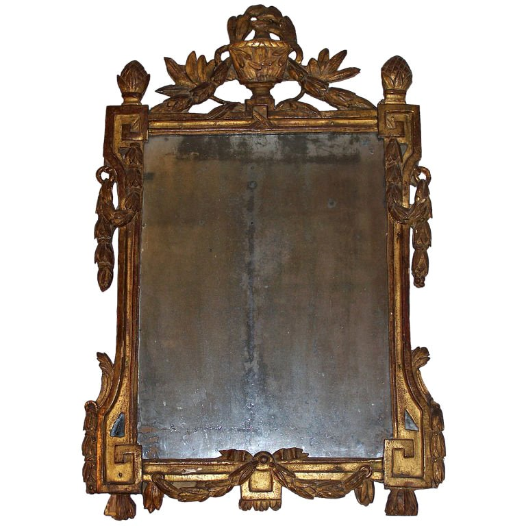 Louis XVI Gilt Mirror with Original Mirror Plate 18th Century