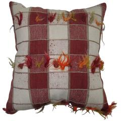 Plaid Style Kilim Pillow with Angora Wool