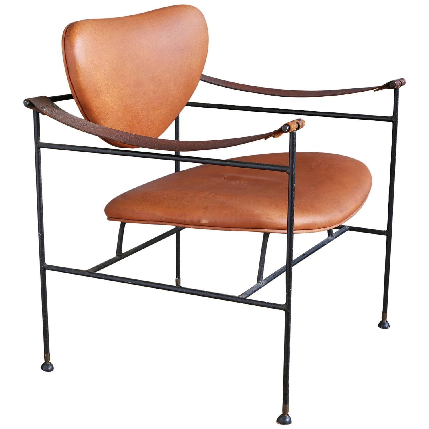 Wrought Iron and Leather Lounge Chair in the Style of Finn Juhl at 1stdibs