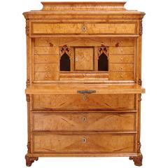 Swedish Birch Root Secretary with a Flight of Drawers, circa 1850