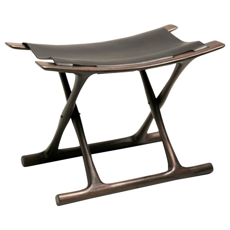 Egyptian Folding Stool in Indian Rosewood by Ole Wanscher For Sale
