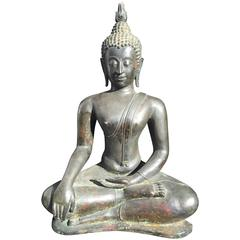 Monumental Bronze Seated Buddha, 19th Century, Old Collection