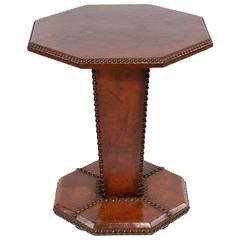 Art Deco French Leather Side Table