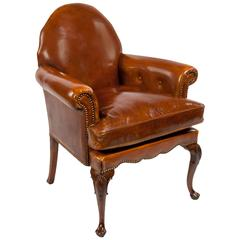 Quality Antique Leather Walnut Armchair