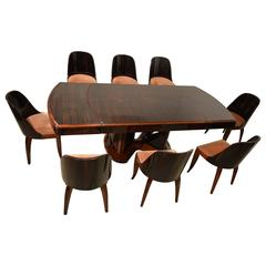Art Deco Dining Table with Eight Chairs in Ebony Macassar