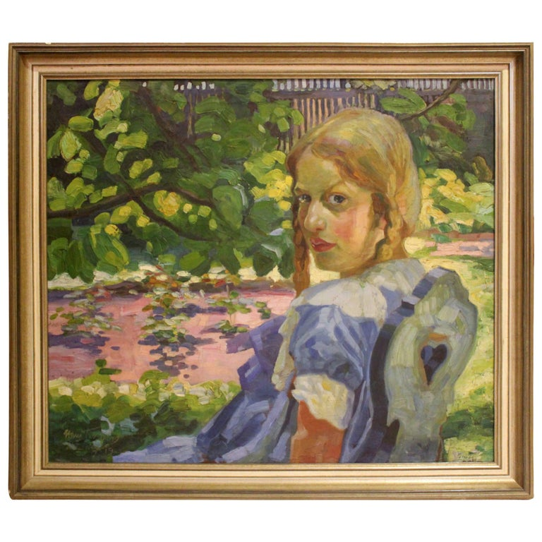 Portrait of a Girl Sitting in a Summer Garden For Sale