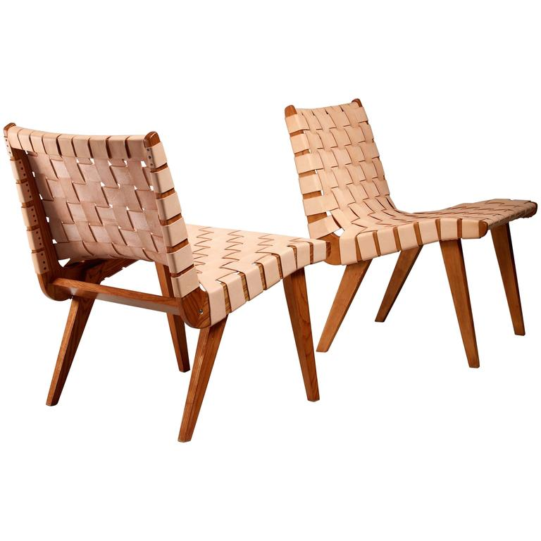 Pair of Leather Webbed Chairs, USA, 1940s