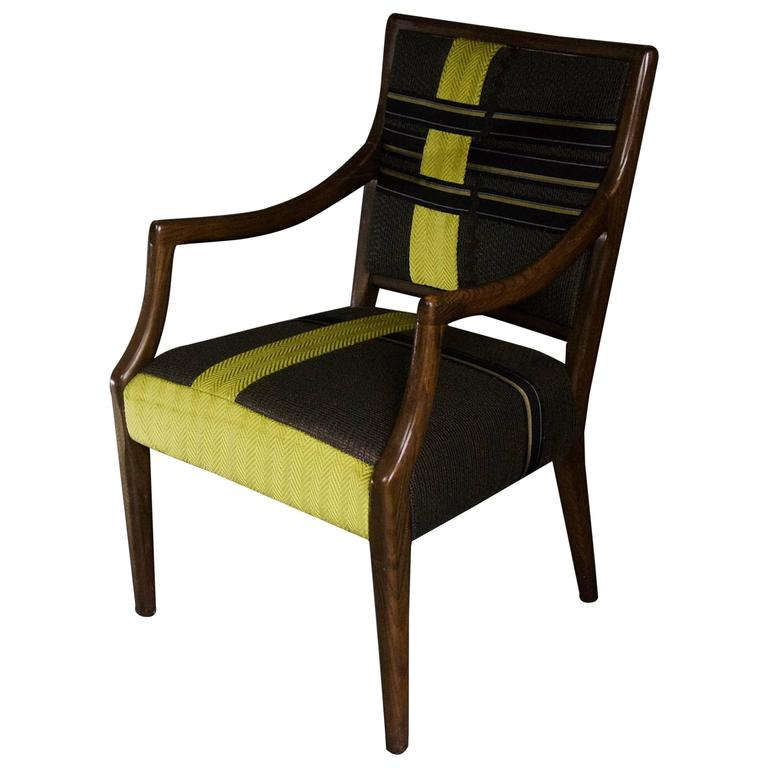 Amazing Wood Frame Armchair With Tailored Ribbon Pattern  In Stock For Sale