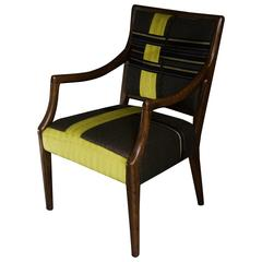 Wood Frame Armchair with Tailored Ribbon Pattern--in stock