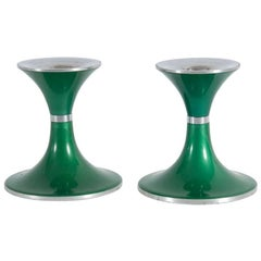 Pair of Green Candlesticks Made of Aluminum, Manufacturer Quist Präsente