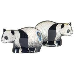 Adorable Panda Twins Made of Lucite by Abraham Palatnik