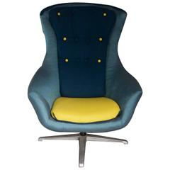 """Blue 1960s """"Egg"""" Style Chair"""
