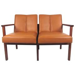 Mid-Century Modern Vinyl and Walnut Settee