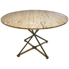Cleo Baldon Wrought Iron Oak and Marble Dinning Table