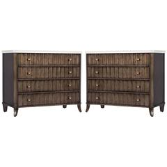 Pair of Stone Top Fluted Façade Chest of Drawers