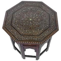 19th Century Octagonal Anglo-Indian Inlay Folding Side Table