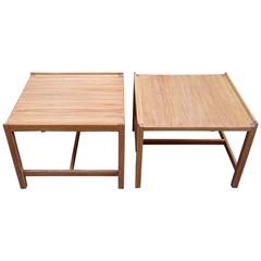 Sleek Pair of 1950s Danish Modern Bleached Teak Cocktail Tables