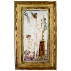 Large Antique Capodimonte Porcelain Plaque of a Naiad or Water Nymph