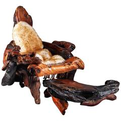 Daryl Stokes Sculptural Redwood Chair with Ottoman, USA, 1970s