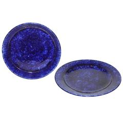 Pair of 19th Century Cobalt Blue Spatter Bake Dish and Charger