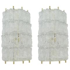 Pair of Ice-Textured Sconces