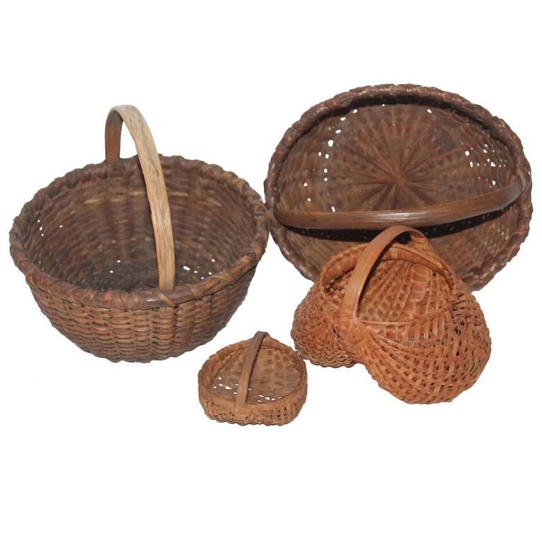 Collection of Four 19th Century Early Baskets from Pennsylvania