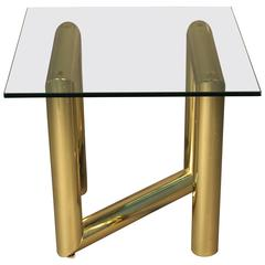 Brass Tubular Side Table with Heavy Glass Top