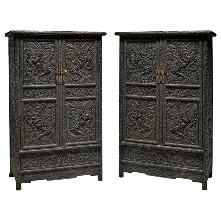 Pair Of Tall Chinese Zitan Wood Cabinets Featuring Hand