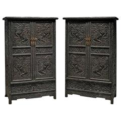 Pair of Tall Chinese Zitan Wood Cabinets Featuring Hand Carved Dragons