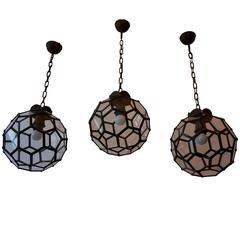 Set of Three Italian Stained Glass Pendants