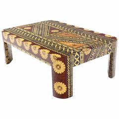 Large Mid-Century Modern Decorated Art Decoareted Coffee Table