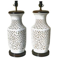 Pair of Large Pierced Porcelain Blanc de Chine Table Lamps