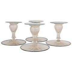 Set of Four Mid-Century Venetian Italian Glass Candlesticks