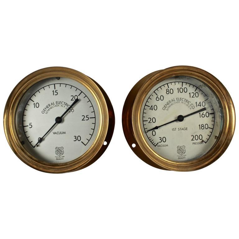 Pair of Steampunk Brass Industrial Architectural Pressure Gauges